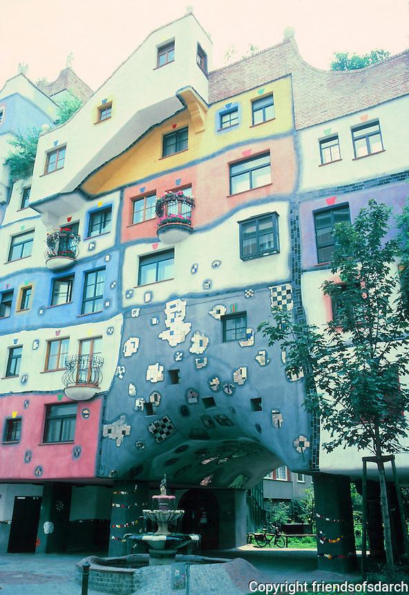 Friedensreich Hundertwasser: Hudertwasser House. Artistic, colorful apartment building. Photo '87.