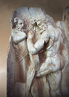 Close up of a RomanSebasteion relief sculpture of  Herakles is preparing to wrestle the Libyan giant Antaios. Aphrodisias Museum, Aphrodisias, Turkey. Against an art background.<br /> <br /> Herakles (left) is taking off his bow case to hang it on a pillar statue. Antaios (right) is binding up his head with ear protectors, next to him stands an oil basin used in the palaistra (wrestling ground). Antaios was a famous wrestler who challenged and killed all visitors to his country, until he was defeated by Herakles.