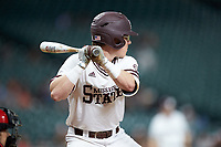 Rowdey Jordan (4) of the Mississippi State Bulldogs at bat against the Houston Cougars in game six of the 2018 Shriners Hospitals for Children College Classic at Minute Maid Park on March 3, 2018 in Houston, Texas. The Bulldogs defeated the Cougars 3-2 in 12 innings. (Brian Westerholt/Four Seam Images)