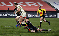 2nd January 2021   Ulster vs Munster <br /> <br /> Stuart McCloskey is tackled by Nick McCarthy during the PRO14 Round 10 clash between Ulster Rugby and Munster Rugby at the Kingspan Stadium, Ravenhill Park, Belfast, Northern Ireland. Photo by John Dickson/Dicksondigital