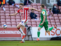 5th April 2021; Bet365 Stadium, Stoke, Staffordshire, England; English Football League Championship Football, Stoke City versus Millwall; Harry Souttar of Stoke City chases a through ball