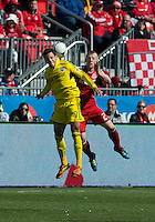 31 March 2011: Columbus Crew midfielder Bernardo Anor #7 and Toronto FC defender Richard Eckersley #27 in action during a game between the Columbus Crew and the Toronto FC at BMO Field in Toronto, Ontario Canada..The Columbus Crew won 1-0.