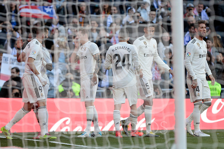 Real Madrid's players celebrate goal during La Liga match between Real Madrid and Girona FC at Santiago Bernabeu Stadium in Madrid, Spain. February 17, 2019. (ALTERPHOTOS/A. Perez Meca)