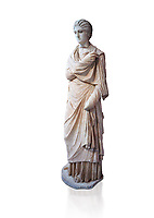 Statue of a female inj the Small Herculaneum Style, Athens Archaeological Museum, Cat no 242. Pentelic marble.  Against white, <br /> <br /> Copy of earlier famous Greek statue dated 300 BC. The women is depicted wearing a full length chiton and a himation that covers her entire body.