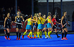 the Hockeyroos celebrate their second goal during the Sentinel Homes Trans Tasman Series hockey match between the New Zealand Black Sticks Women and the Australian Hockeyroos at Massey University Hockey Turf in Palmerston North, New Zealand on Tuesday, 1 June 2021. Photo: Dave Lintott / lintottphoto.co.nz