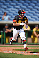 Maryland Terrapins catcher Dan Maynard (11) runs to first base during a game against the Alabama State Hornets on February 19, 2017 at Spectrum Field in Clearwater, Florida.  Maryland defeated Alabama State 9-7.  (Mike Janes/Four Seam Images)