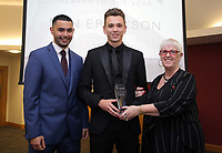 Pictured: Under 16 winner Ben Erickson (C) Saturday 27 May 2017<br /> Re: Swansea City FC Academy Awards Evening at the Liberty Stadium, Wales, UK