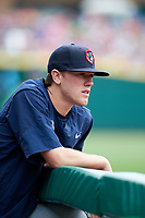 Gwinnett Stripers pitcher Kolby Allard (56) in the dugout during a game against the Columbus Clippers on May 17, 2018 at Huntington Park in Columbus, Ohio.  Gwinnett defeated Columbus 6-0.  (Mike Janes/Four Seam Images)