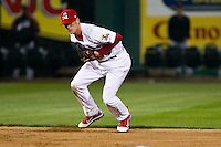 Ryan Jackson (23) of the Springfield Cardinals fields a ground ball during a game against the Frisco RoughRiders on April 14, 2011 at Hammons Field in Springfield, Missouri.  Photo By David Welker/Four Seam Images.
