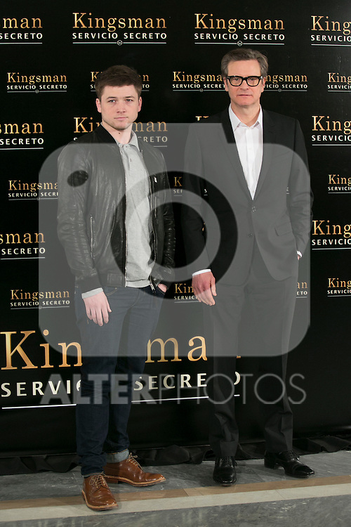 "Colin Firth and Taron Egerton attend the ""Kingsman"" Movie Presentation at Villa Magna Hotel, Madrid,  Spain. February 06, 2015.(ALTERPHOTOS/)Carlos Dafonte)"