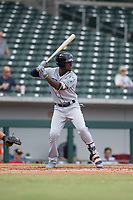 Peoria Javelinas shortstop Lucius Fox (5), of the Tampa Bay Rays organization, at bat during an Arizona Fall League game against the Mesa Solar Sox at Sloan Park on October 11, 2018 in Mesa, Arizona. Mesa defeated Peoria 10-9. (Zachary Lucy/Four Seam Images)