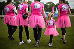 © Joel Goodman - 07973 332324 . 09/07/2017 . Manchester , UK . Participants running for Penny O'Neill at the park ahead of the run . Race for Life charity run in aid of Cancer Research UK , in Heaton Park . Photo credit : Joel Goodman