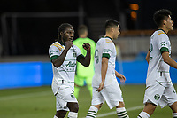 SAN JOSE, CA - SEPTEMBER 16: Yammi Chara #23, of the Portland Timbers celebrates scoring a goal during a game between Portland Timbers and San Jose Earthquakes at Earthquakes Stadium on September 16, 2020 in San Jose, California.