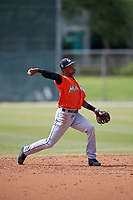 Miami Marlins Jose Devers (55) during a Minor League Spring Training Intrasquad game on March 27, 2018 at the Roger Dean Stadium Complex in Jupiter, Florida.  (Mike Janes/Four Seam Images)