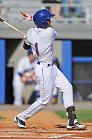 Kingsport Mets shortstop Amed Rosario #1 swings at a pitch during a game against the Elizabethton Twins at Hunter Wright Stadium on June 29, 2013 in Kingsport, Tennessee. The Mets won the game 5-4. (Tony Farlow/Four Seam Images)