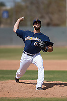 Milwaukee Brewers relief pitcher Luke Barker (68) during a Minor League Spring Training game against the Kansas City Royals at Maryvale Baseball Park on March 25, 2018 in Phoenix, Arizona. (Zachary Lucy/Four Seam Images)