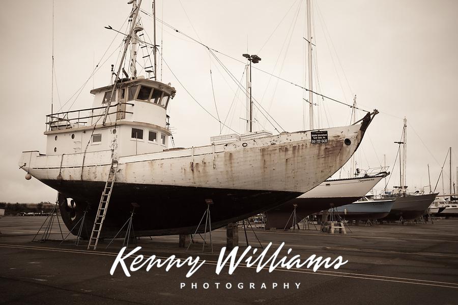 Commercial Fishing Boat, Repair Shipyard, Port of Astoria, Oregon