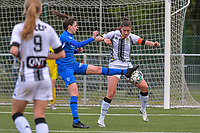 Gwen Duijsters (13) of KRC Genk and Noemie Fourdin (22) of Sporting Charleroi pictured during a female soccer game between Sporting Charleroi and Eendracht Aalst on the 8th matchday in play off 2 of the 2020 - 2021 season of Belgian Scooore Womens Super League , tuesday 18 th of May 2021 in Marcinelle , Belgium . PHOTO SPORTPIX.BE | SPP | STIJN AUDOOREN