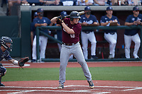 Noah Nelson (12) of the Bellarmine Knights at bat against the Liberty Flames at Liberty Baseball Stadium on March 9, 2021 in Lynchburg, VA. (Brian Westerholt/Four Seam Images)