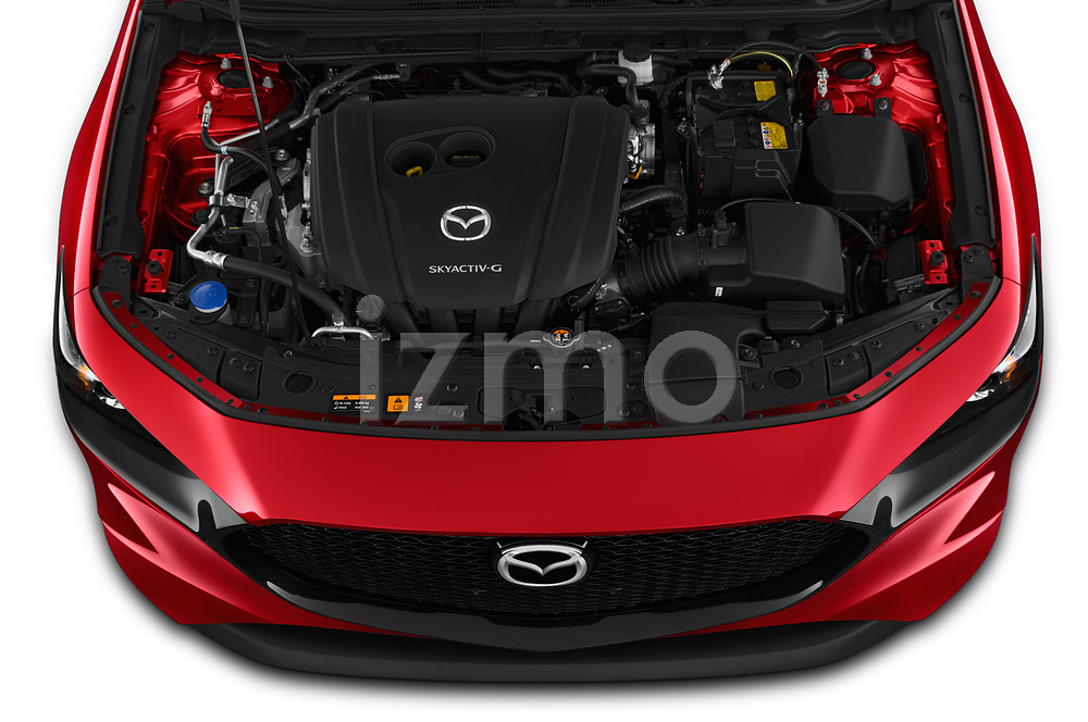 Car Stock 2019 Mazda Mazda-3 - 5 Door Hatchback Engine  high angle detail view