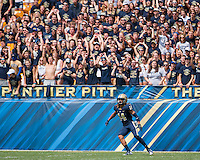 Pitt kickoff returner and defensive back Avonte Maddox awaits the opening kickoff. The Pitt Panthers football team defeated the Youngstown State Penguins 45-37 on Saturday, September 5, 2015 at Heinz Field, Pittsburgh, Pennsylvania.