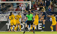 East Hartford, Connecticut - Sunday July 29, 2018:  2018 Tournament of Nations match between the women's national teams of Australia (AUS) (yellow) and United States (USA) (blue). United States Women's team (uSWNT) tied Australia, 1-1, at Pratt & Whitney Stadium at Rentschler Field.<br /> Goal.
