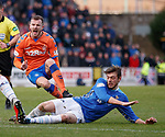 23.12.2018 St Johnstone v Rangers: Andy Halliday gets a sore one from Murray Davidson