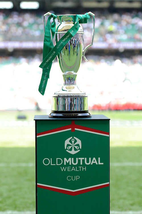 The Old Mutual Wealth Cup trophy on display before the match between England and Wales at Twickenham Stadium on Sunday 29th May 2016 (Photo: Rob Munro/Stewart Communications)