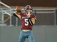 Landon Phipps (5) of Springdale goes back to pass against Springdale Har-ber  at Jarrell Williams Bulldog Stadium, Springdale, Arkansas on Friday, October 9, 2020 / Special to NWA Democrat-Gazette/ David Beach