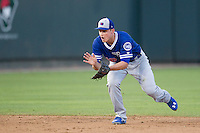 Oklahoma City Dodgers shortstop Corey Seager (18) fields a ground ball during the Pacific Coast League baseball game against the Round Rock Express on June 9, 2015 at the Dell Diamond in Round Rock, Texas. The Dodgers defeated the Express 6-3. (Andrew Woolley/Four Seam Images)
