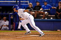 Dunedin Blue Jays outfielder Marcus Knecht #4 gets a walk off hit during a game against the Tampa Yankees on April 11, 2013 at Florida Auto Exchange Stadium in Dunedin, Florida.  Dunedin defeated Tampa 3-2 in 11 innings.  (Mike Janes/Four Seam Images)