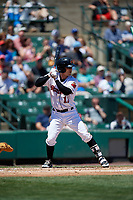 Rochester Red Wings designated hitter John Ryan Murphy (12) bats during a game against the Scranton/Wilkes-Barre RailRiders on June 7, 2017 at Frontier Field in Rochester, New York.  Scranton defeated Rochester 5-1.  (Mike Janes/Four Seam Images)