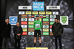 Giacomo Nizzolo (ITA) NTT Pro Cycling Team takes over the Green Jersey on the podium at the end of Stage 3 of the 78th edition of Paris-Nice 2020, running 212.5km from Chalette-sur-Loing to La Chatre, France. 10th March 2020.<br /> Picture: ASO/Fabien Boukla   Cyclefile<br /> All photos usage must carry mandatory copyright credit (© Cyclefile   ASO/Fabien Boukla)