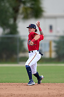 FCL Twins shortstop Keoni Cavaco (51) throws to first base during a game against the FCL Red Sox on July 3, 2021 at CenturyLink Sports Complex in Fort Myers, Florida.  (Mike Janes/Four Seam Images)
