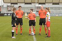 referee Irmgard Van Meirvenne with assistant referees Maxime Borremans (R) and Gianni Seeldraeyers (L) and Pauline Windels (5) of Zulte-Waregem and Chloe Van Mingeroet (17) of Eendracht Aalst pictured during a female soccer game between Eendracht Aalst and SV Zulte Waregem on the fourth matchday of play off 2 of the 2020 - 2021 season of Belgian Scooore Womens Super League , Saturday 1 st of May 2021  in Aalst , Belgium . PHOTO SPORTPIX.BE | SPP | DIRK VUYLSTEKE