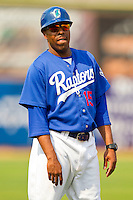 Ogden Raptors coach Jay Washington (15) coaches third base during the Pioneer League game against the Orem Owlz at Lindquist Field on July 29, 2012 in Ogden, Utah.  The Owlz defeated the Raptors 6-4.   (Brian Westerholt/Four Seam Images)