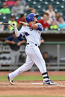 Tennessee Smokies catcher Kyle Schwarber (12) swings at a pitch during a game against the Mobile BayBears on May 27, 2015 in Kodak, Tennessee. The Smokies defeated the BayBears 3-2. (Tony Farlow/Four Seam Images)