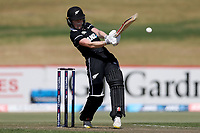 4th April 2021; Bay Oval, Taurange, New Zealand;  New Zealand's Lauren Down plays a shot during the 1st women's ODI White Ferns versus Australia cricket match at Bay Oval in Tauranga.