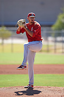 Los Angeles Angels pitcher Joe Gatto (45) during an instructional league game against the Oakland Athletics on October 9, 2015 at the Tempe Diablo Stadium Complex in Tempe, Arizona.  (Mike Janes/Four Seam Images)