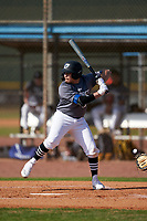 Jayden Colon (2) bats during the Perfect Game National Underclass East Showcase on January 23, 2021 at Baseball City in St. Petersburg, Florida.  (Mike Janes/Four Seam Images)