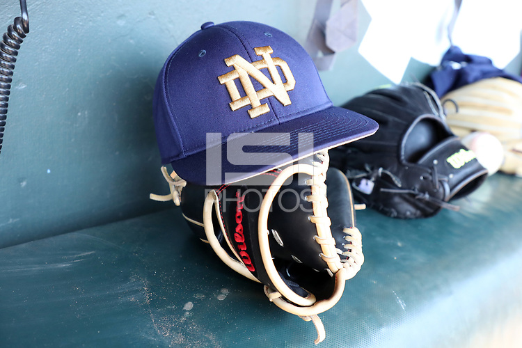 CHAPEL HILL, NC - MARCH 08: University of Notre Dame baseball hat during a game between Notre Dame and North Carolina at Boshamer Stadium on March 08, 2020 in Chapel Hill, North Carolina.