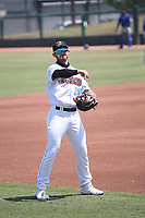 Brandon Lewis (23) of the Inland Empire 66ers throws before a game against the Rancho Cucamonga Quakes at San Manuel Stadium on May 9, 2021 in San Bernardino, California. (Larry Goren/Four Seam Images)