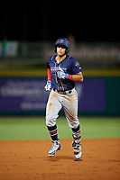 Jacksonville Jumbo Shrimp shortstop Joe Dunand (1) rounds the bases after hitting a home run in the top of the sixth inning during a game against the Pensacola Blue Wahoos on August 15, 2018 at Blue Wahoos Stadium in Pensacola, Florida.  Jacksonville defeated Pensacola 9-2.  (Mike Janes/Four Seam Images)