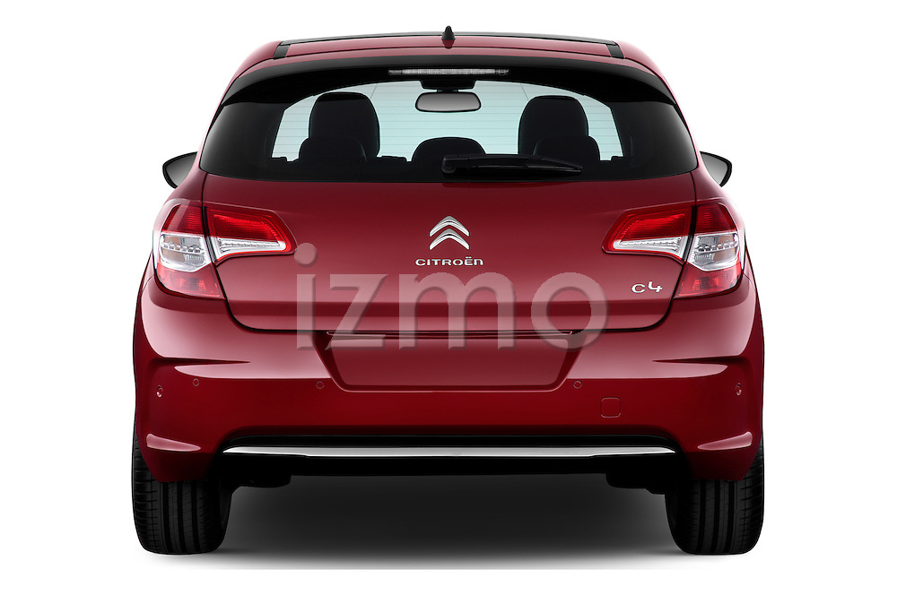 Straight rear view of a 2013 Citroen C4 Exclusive 5 Door Hatchback 2WD