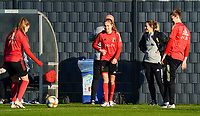 20200911 - TUBIZE , Belgium : Davinia VanMechelen and Jarne Teulings pass the ball to each other during the training session of the Belgian Women's National Team, Red Flames ahead of the Women's Euro Qualifier match against Switzerland, on the 28th of November 2020 at Proximus Basecamp. PHOTO: SEVIL OKTEM | SPORTPIX.BE