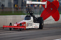 Aug 30, 2014; Clermont, IN, USA; NHRA top fuel dragster driver T.J. Zizzo during qualifying for the US Nationals at Lucas Oil Raceway. Mandatory Credit: Mark J. Rebilas-USA TODAY Sports