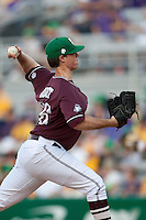 Mississippi State starting pitcher Nick Routt #36 delivers a pitch during the  NCAA baseball game against the LSU Tigers on March 17, 2012 at Alex Box Stadium in Baton Rouge, Louisiana. The 10th-ranked LSU Tigers beat #21 Mississippi State, 4-3. (Andrew Woolley / Four Seam Images)