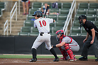 Mitch Roman (10) of the Kannapolis Intimidators at bat against the Hagerstown Suns at Kannapolis Intimidators Stadium on June 14, 2017 in Kannapolis, North Carolina.  The Intimidators defeated the Suns 10-1 in game two of a double-header.  (Brian Westerholt/Four Seam Images)