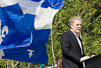 Quebec Premier Jean Charest speaks at the inauguration of the Promenade Samuel-de-Champlain Tuesday June 24, 2008 in Quebec City. The Promenade, a 2.5km parkway along the St-Lawrence River, is the gift from the government of Quebec to Quebec city for her 400th's birthday<br /> <br /> PHOTO :  Francis Vachon - Agence Quebec Presse