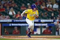 Alex Milazzo (20) of the LSU Tigers hustles down the first base line against the Oklahoma Sooners in game seven of the 2020 Shriners Hospitals for Children College Classic at Minute Maid Park on March 1, 2020 in Houston, Texas. The Sooners defeated the Tigers 1-0. (Brian Westerholt/Four Seam Images)